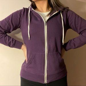 3/$10✨ dark purple drawstring zip up hoodie